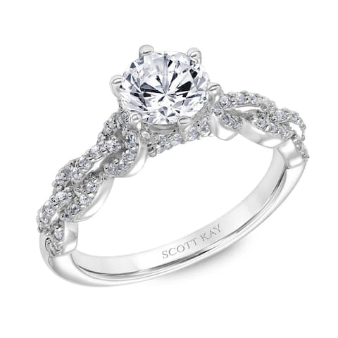 Platinum 0.75 CT Moissanite Ladies Engagement Ring with Encrusted Links Down the Shank by Scott Kay - White