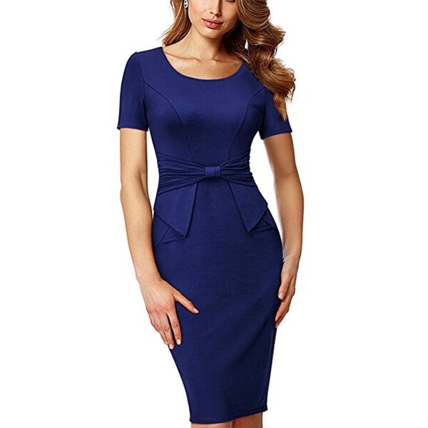 Shop Women s Short Sleeve Pleated Form Fitting Church Dress - Free Shipping  On Orders Over  45 - Overstock - 27110837 f7a5870022fc