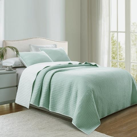 Beaute Living Cotton Jersey Reversible Lightweight 3-Piece Quilt Set