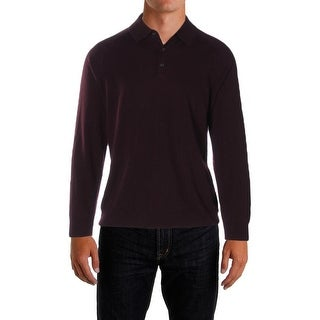 Perry Ellis Mens Polo Sweater Merino Wool Blend Long Sleeves