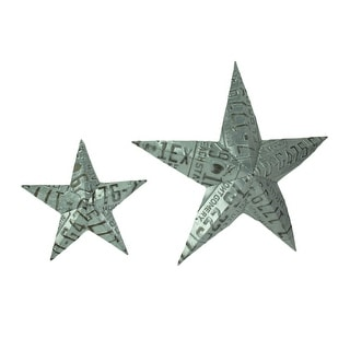 Set of 2 Galvanized Zinc Finish License Plate Star Wall Hangings