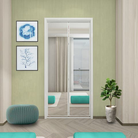 "Colonial Elegance Bevelled Mirror Bi-Fold Closet Door White 30x80.5"""