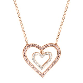 Crystaluxe Concentric Suspended Heart Necklace with Swarovski Crystals in 18K Rose Gold-Plated Sterling Silver - Pink