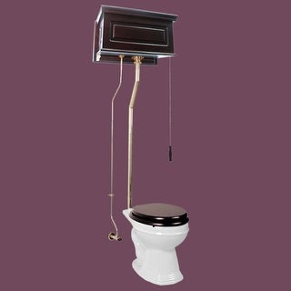 High Tank Pull Chain Toilet Dark Oak Raised Round L-pipe | Renovator's Supply