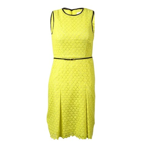 Calvin Klein Women's Belted Pleather-Trim Embroidered Lace Dress - Citron