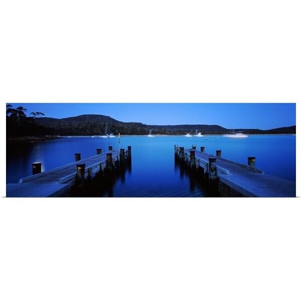 """""""Twin jetty in the sea, Coles Bay, Tasmania, Australia"""" Poster Print"""