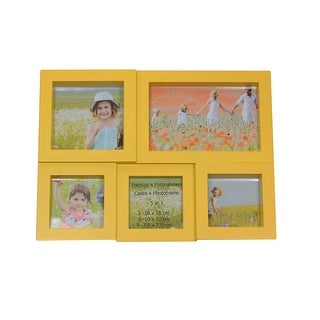 "11.5"" Yellow Multi-Sized Puzzled Photo Picture Frame Collage Wall Decoration"