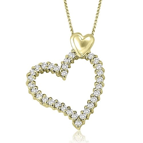 0.50 cttw. 14K Yellow Gold Round Cut Double Heart Shape Pendant