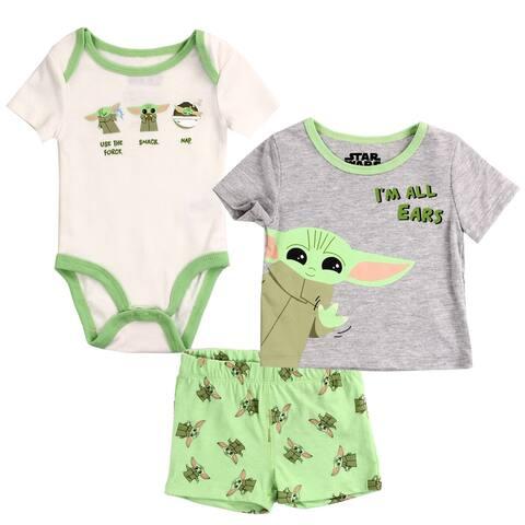 Star Wars Baby Yoda Newborn Boys 3-Piece Short Set