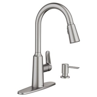Moen 87028SRS Edwyn One-Handle High Arc Pull-Down Kitchen Faucet, Stainless    Overstock.com Shopping - The Best Deals on Kitchen Faucets