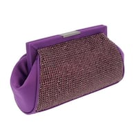 Scheilan  Purple Fabric Double Sided Crystal Paneled Clutch/Shoulder Bag - 7-4.5-2.5