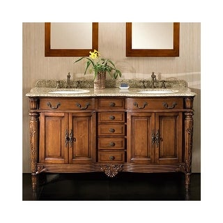"""Miseno MVKA60 60"""" Free Standing Vanity Set with Cabinet, Granite Vanity Top, Two Undermount Sinks and Widespread Faucet Holes"""