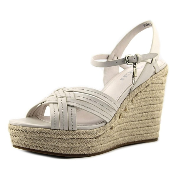 Coach Dottie Women Open Toe Leather Ivory Wedge Sandal