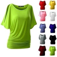 Women Fashion Cotton T-shirt Women Tops Round Neck Bat Sleeve Tops Shirts Casual Shirts
