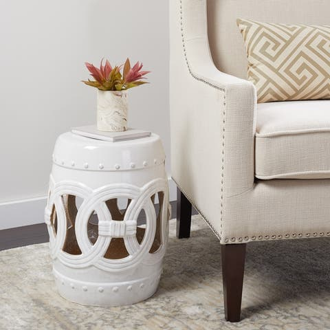 Abbyson Moroccan White Ceramic Garden Stool
