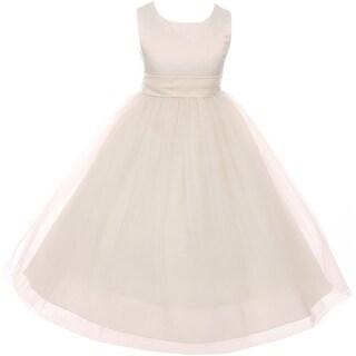 Sleeveless Sash Big Bow Wedding Flower Girl Dress USA Ivory KD 411 IV