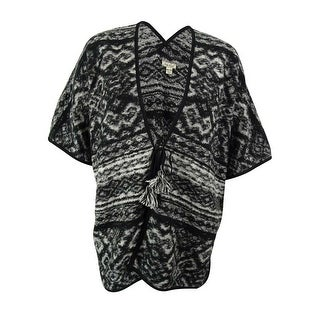 Lucky Brand Women's Wool Blend Tie Front Cardigan Sweater - Black/White - os