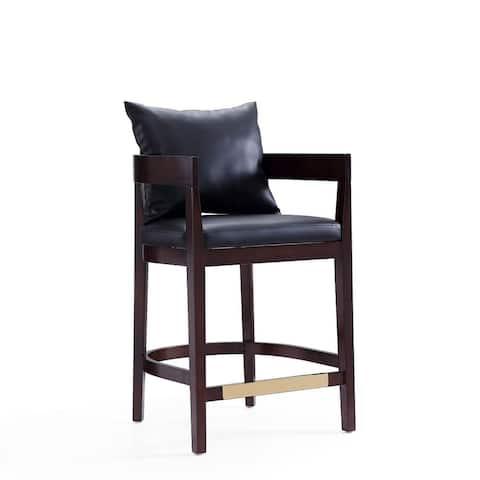 Manhattan Comfort Ritz 34 in. Dark Walnut Beech Wood Counter Height Bar Stool