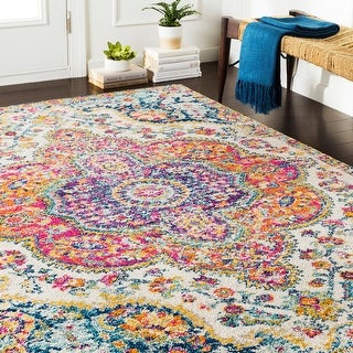 Link to Hal Vintage Boho Traditional Pink Medallion Area Rug Similar Items in As Is