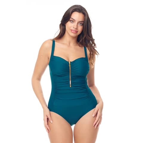 Sea Sand Swimwear Zip Front swimsuit