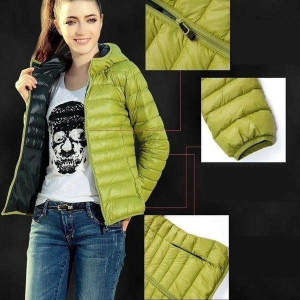 Fashion Women Slim Solid Color Outerwear Winter Warm Ladies Zipper Down Short Coat