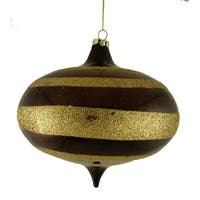 "Chocolate Brown Glitter Striped Shatterproof Onion Christmas Ornament 6"" (150mm)"