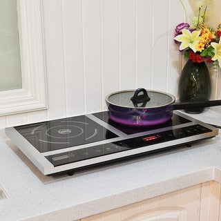 Costway Electric Portable Induction Cooker Double Burner Cooktop Digital Display New