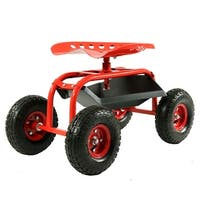 Sunnydaze Rolling Shop Cart with 360 Degree Swivel Seat & Tool Tray - Multiple Colors