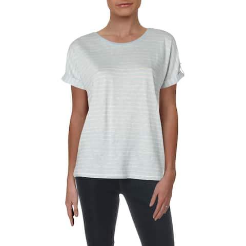 Lauren Ralph Lauren Womens Raneefa T-Shirt Linen Blend Striped - Cream/Blue