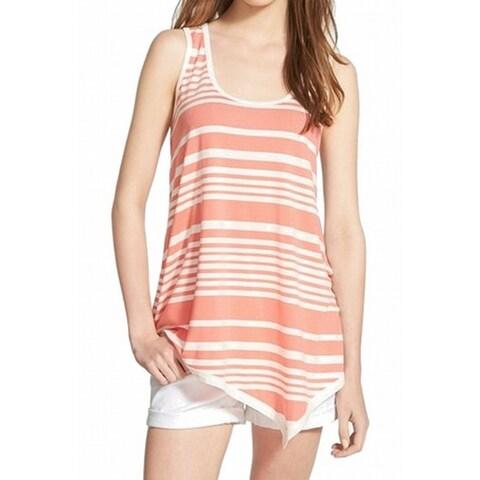 Bobeau Pink White Women's Size XS Striped Scoop-Neck Tank Top