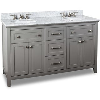 Jeffrey Alexander VAN102D-60-T 60 Inch Double Free Standing Vanity Set with Hardwood Cabinet, Marble Top, and 2 Oval Undermount