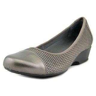 FootSmart Kimberly Women WW Open Toe Synthetic Gray Wedge Heel
