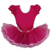 Wenchoice Girls Hot Pink Bow Short Sleeve Ballet Dress