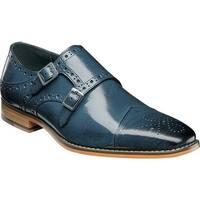 Stacy Adams Men's Tayton Cap Toe Double Monk Strap Blue Buffalo Leather