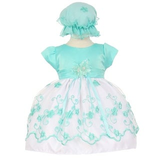 Baby Girls Mint Floral Embroidery Overlay Special Occasion Bonnet Dress 6-24M