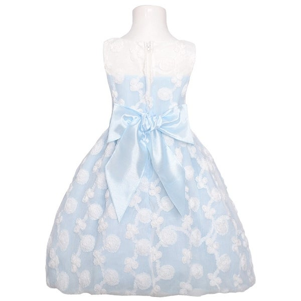 Sweet Kids Light Blue White Rosette Easter Dress Todder Girl 2T-3T