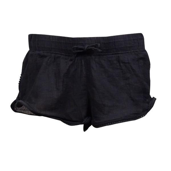 Roxy Women's Soft Crochet Crinkled Swim Short (S, Black) - Black - S