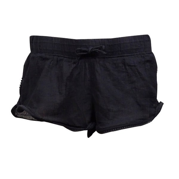 Roxy Women's Soft Crochet Crinkled Swim Short (XS, Black) - Black - XS