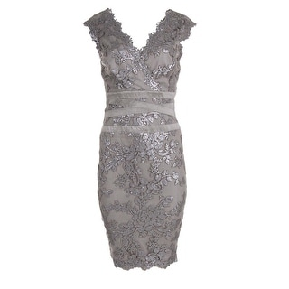 Tadashi Shoji Womens Sequined Knee-Length Cocktail Dress - 16