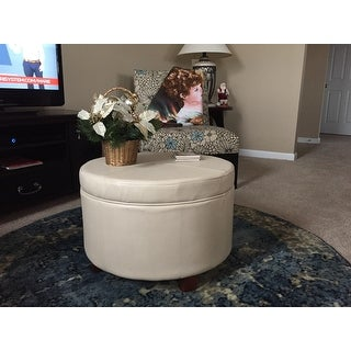 HomePop Large Ivory Leather Round Storage Ottoman