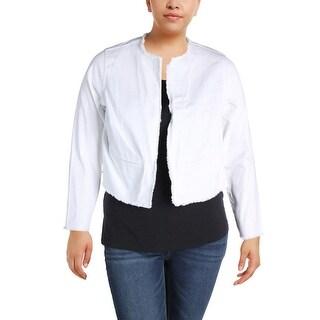 Lauren Ralph Lauren Womens Plus Denim Jacket Frayed Hem Collarless