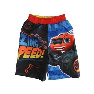 Nickelodeon Little Boys Black Blaze Monster Truck UPF 50+ Swim Shorts