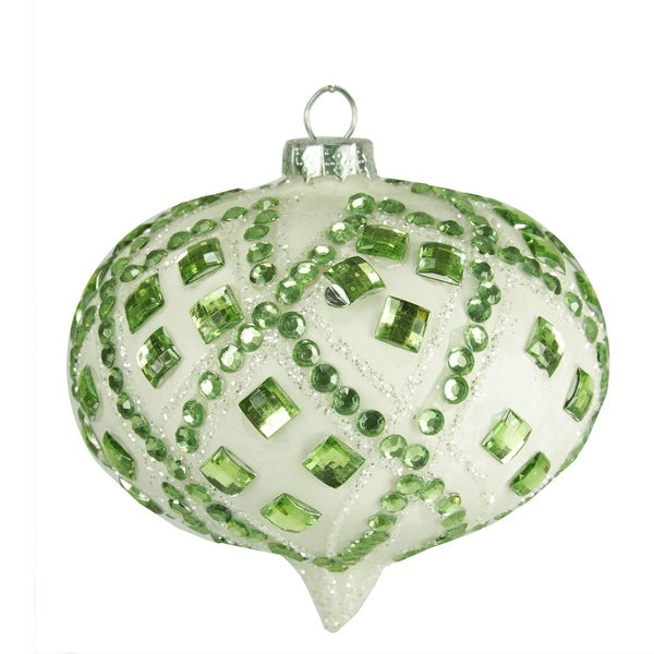 """4"""" Good Tidings Ivory with Pastel Green Gems Glass Onion Christmas Ornament"""