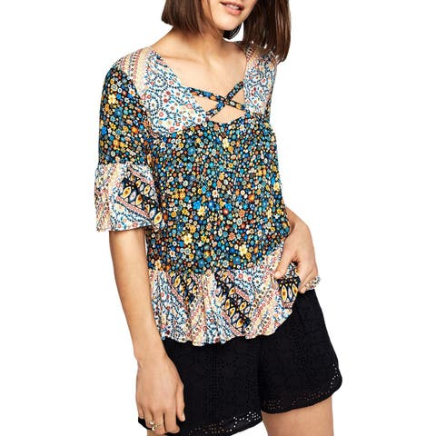 BCBGeneration Womens Pullover Top Floral Ruffled - S