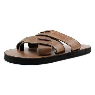 29 Porter Rd Kent Men Open Toe Leather Tan Slides Sandal