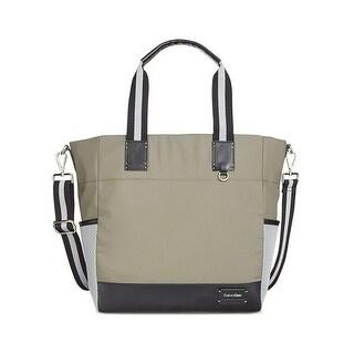 Calvin Klein Womens Ripstop Cire Tote Handbag Convertible Printed - Large