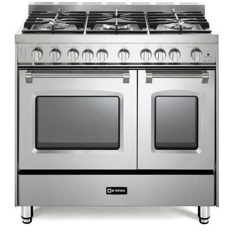 """Verona VPFSGG365D 36"""" Wide 4 Cu. Ft. Free Standing Natural Gas Double Range - Stainless Steel"""