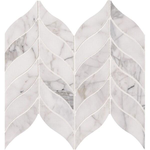 """MSI SMOT-CAL-LEAFH Calacatta Cressa - 12"""" x 10"""" Chevron Mosaic Sheet - Honed Marble Visual - Sold by Carton (8.3 SF/Carton)"""