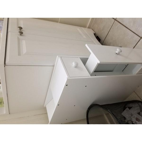 Shop Costway Narrow Wood Floor Bathroom Storage Cabinet Holder Organizer Bath Toilet - White - Free Shipping Today - Overstock.com - 17803218