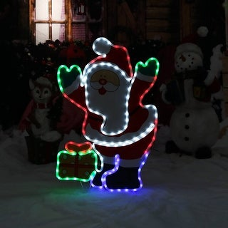 Sunnydaze LED Santa Claus Indoor-Outdoor with Stand - Multi-Color - 32-Inch